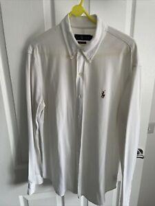 Ralph Lauren oxford shirt large Men's White Mesh Stretch Shirt Knitted