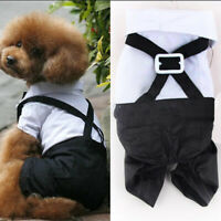 Small Dog Pet Tuxedo Bow Tie Suit Coat Clothes Puppy Cat Party Costume Apparel