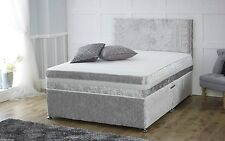 Crushed Velvet Silver Divan Bed 4FT6 With Mattress and Headboard NEXT DAY