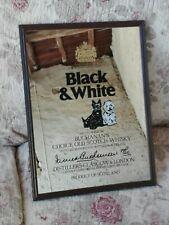 ANCIEN MIROIR PUBLICITAIRE SÉRIGRAPHIÉ BLACK & WHITE SCOTCH WHISKY