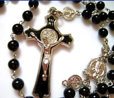 Glass Black Natural Carnelian Agate BEADS St.Benedict ROSARY CROSS necklace