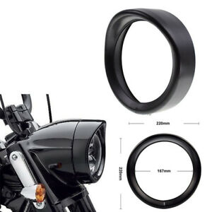 Black 6.6inch Motorcycle Headlight Bezel Lid Protect Guard Cover Cap for Cafe
