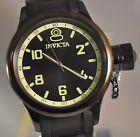 New Mens Invicta 1440 Russian Diver Swiss Black Dial Black Polyurethane Watch
