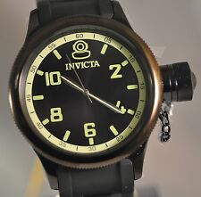 New Mens Invicta 1440 Russian Diver Swiss Black Dial Black Polyurethane Watch