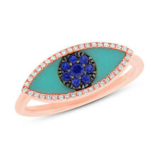 Natural 0.71CT 14K Rose Gold Turquoise Blue Sapphire All Seeing Eye Diamond Ring