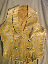 Vintage Antique Silk Brocade Waistcoat Vest B32 Gc 1860s Steelcut Buttons