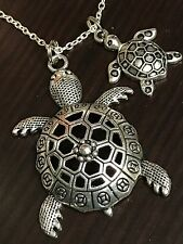 "Sea Turtles Mother Baby Tibetan Silver with 18"" Necklace GA18"