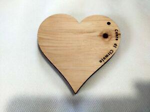 1 Cuore legno di cirmolo - pino cembro - 10x1 cm. Per armadi, cassetti, auto e