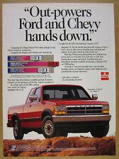 1992 Dodge Dakota LE Club Cab Pickup red truck photo vintage print Ad