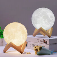 3D Moon Lamp USB LED Night Light Moonlight Touch Sensor Color Changing w/ Stand