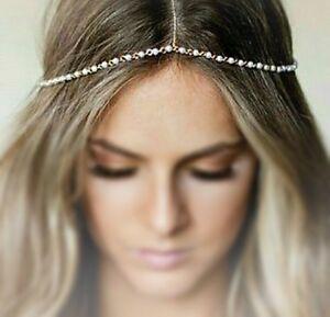 Bohemian Faux Pearl Headband Hair Piece Gold Hippy Chain 70's Retro
