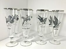 Federal Glass Sportsman Pilsner Set 8 Pheasant Canada Goose Canvasback Grouse