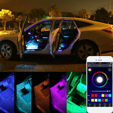 4x LED RGB Car Music Strip Lights Wireless Music Phone APP Control Interior Kit