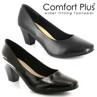 LADIES WOMENS COURT SHOES CLASSIC CASUAL FORMAL WORK WIDE FITTING LOW MID HEELS