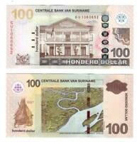 SURINAME $100 Dollars (2010) P-166a UNC Banknotes Paper Money