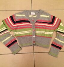 NEXT Girls Striped Cardigan Age 3-4 Years Flower Buttons 100% Cotton Long Sleeve