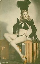 Arcade Card 1940s Showgirl Pin-Up Girl Feathered Hat Crop-Jacket Panties & Heels