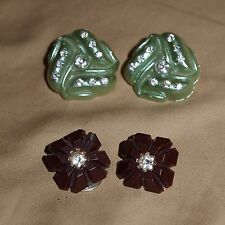 Wonderful Pair of Stylish Retro Colored Celluloid and  RHINESTONE Earrings!