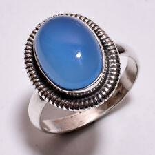 925 Sterling Silver Ring Size US 7.5, Natural Chalcedony Gemstone Jewelry R4053
