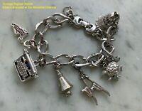 Vintage Signed Monet Charm Bracelet w Six Moveable Monet Charms