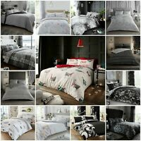 BLACK GREY DUVET COVER with Pillowcase Quilt Reversible Bedding Set Double King