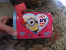 Valentine's Day School Tin Mailbox w/ flag Despicable Me Minions Love Hearts toy