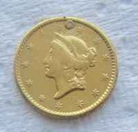 1850 Type 1 Liberty Head $1 Gold Ex - Jewelry Plugged Filler