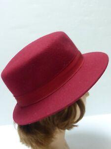 Chapeau feutre laine bordeaux M/ 56cm
