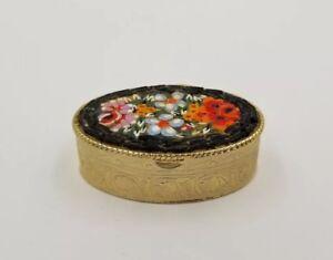 Vtg Millefiori Mini Micro Mosaic Flower Pill Box Pin Trinket Stash Black Yellow