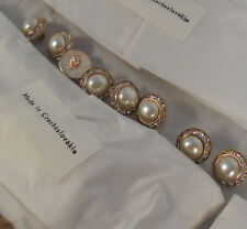 """72 vintage med gold metal rhinestone buttons glass pearl center 5/8"""" 16mm #138"""