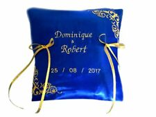 Personalised Embroidered Wedding Ring Bearer Cushion Pillow Royal Blue Gold