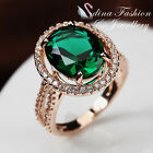 18K Rose Gold Plated Made With Swarovski Crystal Luxury Halo Dark Emerald Ring