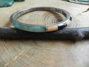 Peruvian Opal, Jasper, Onyx, Shell & Sterling Silver Bangle Bracelet
