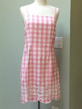 LILLY PULITZER Sz 8 Pink Gingham Check Sundress Dress Cotton Embroidered Hem