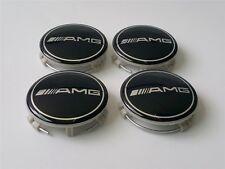 4pcs Mercedes Benz Alloy Wheel Centre Caps 75mm Badges BLACK AMG A B C E ML CLK