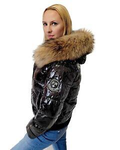 Women's Short Black Quilted Winter Jacket with Raccoon Fur Hood Trim Puffer Coat