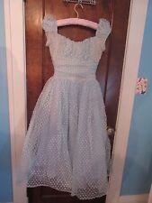 Vtg 50's Light Blue Dot Polka Dot Prom Evening Dress FULL Crinoline FABULOUS!!!