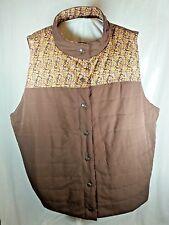 Womens Winter Vest Plus Size 3X D & Co. Denim & Company Brown Floral Sleeveless