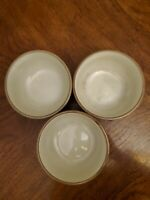 Dansk Plateau KHAKI TAN/CREAM Set of 3 Cereal or Soup Bowls  EUC!