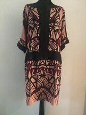 Talking French Anthropologie Silk Printed Shift Dress Summer Wedding Size 14