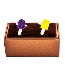 Popsicle Yellow & Purple Cufflinks Grape Wedding Fancy Gift Box Free Ship USA