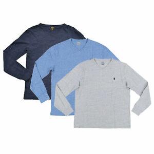 Polo Ralph Lauren Mens V-Neck T-Shirt Long Sleeve Casual Pony Logo Grey Blue L
