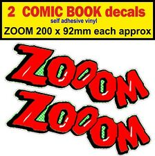 2 Zoom fun bumper sticker Comic Book car decal Pannier bike mini cart Scooter vw