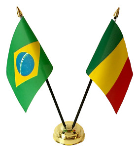 Brazil & Mali Double Friendship Flags Table Set With Base