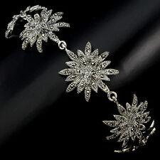 Argento Sterling 925 ORIGINALI SWISS Marcasite Star Vintage Design Braccialetto 8 pollici