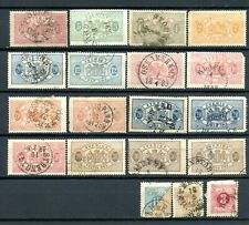 19 Antique Sweden Official & Postage Due Used Stamps Perf.13
