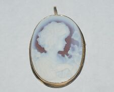 ANTIQUE 18 K GOLD CAMEO PENDANT PIN BROOCH