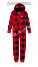 New Victoria's Secret PINK Sherpa Hoodie Jane One Piece Plaid Pajama Red M NWT