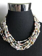 """Ross Simons Multi-color 7-strand Pearl Necklace Sterling Silver Slide Clasp 18"""""""