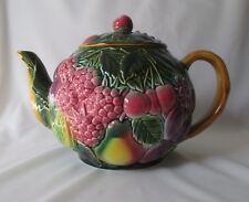 Vintage/Antique Salins Les Bains Tea Pot Lush Majolica Fruit Design ~ France
